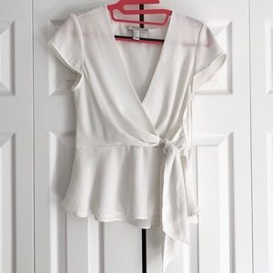 Forever 21 contemporary white wrap blouse, small